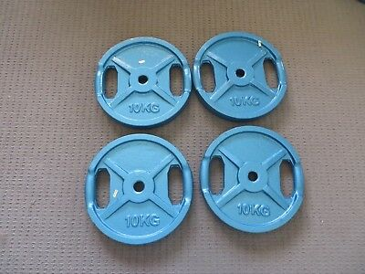 4 X 10Kg Weight Plates - Brand New Cast Iron