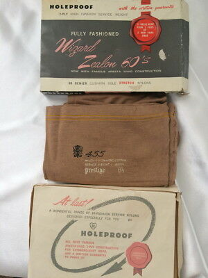 💖NEW VINTAGE NYLON HOSIERY 1960s HOLEPROOF WIZARD ZEALON WITH ORIGINAL FLYER