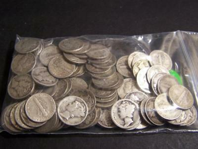 BAG OF 100 MIX OF DATES SILVER MERCURY DIMES (100 SILVER MERCURY DIME... Lot 154
