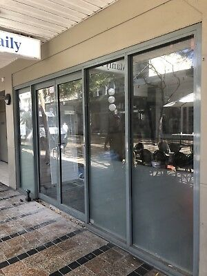 Aluminium Shopfront With Hinged Doors Commercial Clear Safety Glass