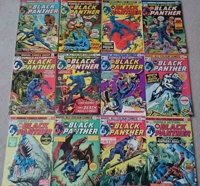 Black Panther Jungle Action 6 - 17 LOT in VG/FN to FN/VFN. 1st Kill-Monger