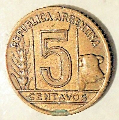 Argentina - Five Centavos Coin -1943 - Reasonable Cond For Age-Deceased Estate
