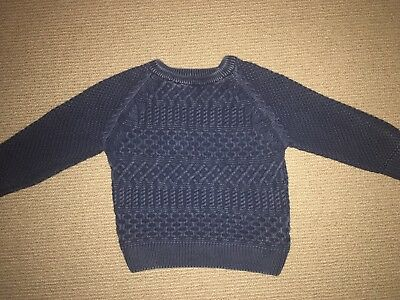 Next Uk Navy Knit Cotton Jumper - Size 2-3