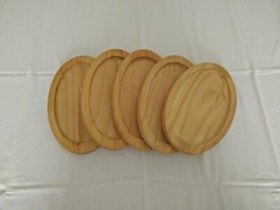 5 Oval Wooden Serving Trays