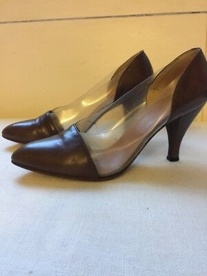GIORGIO ARMANI Vintage Leather and Perspex Pumps - Size 37 1/2