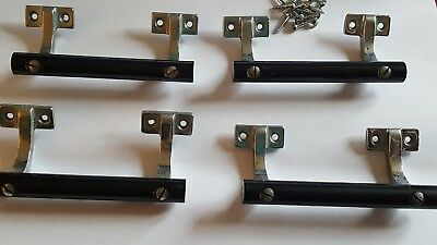 Vintage set 4 Art Deco Bakelite & Chrome Door Pull Handles 1920's 1930's Drawer