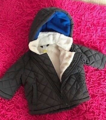 Baby Boys Quilted Hooded Winter Jacket - Size 1