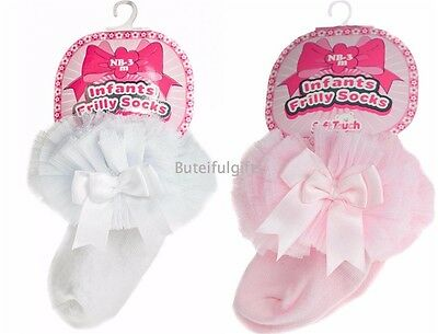 Baby Girls Pink or White Tutu Frilly Bow Socks Spanish Style *1 Supplied*