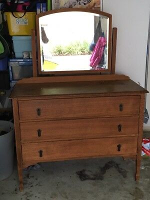 Silky Oak Dressing Table With Mirror -Pick Up Only