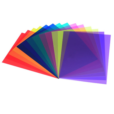 14 Pieces Correction Gel Filter Overlays Transparency Color Film Plastic Sheets