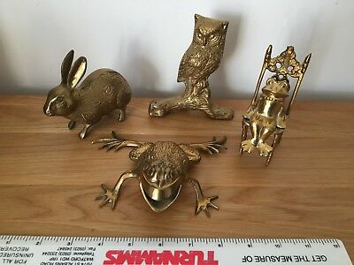 Brass Animals x 4 - RABBIT - FROG ON CHAIR - OWL - TOAD - Metal