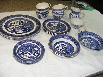 """JOHNSON BROTHERS ENGLAND """"Willow"""" 20 pce, 4 Dinner Set + extras"""
