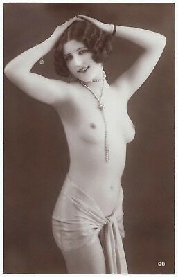 1910 Original French Real Photo PC Nude Voluptuous Girl Lingerie