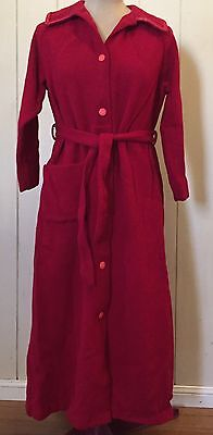 Vintage 100% Pure New Wool Red Dressing Gown