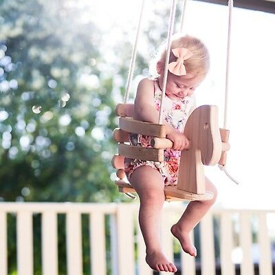 Wooden Horse Swing Set for Toddlers