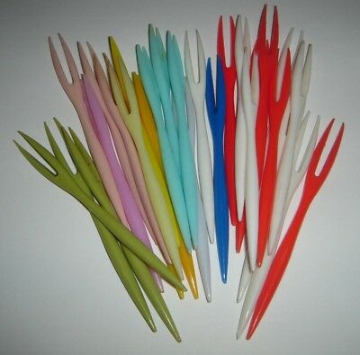 Little Cocktail Savory Forks Colourful Retro Awesome Lot of 28 * Combine Postage