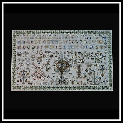 Xxl Antique Rare Vintage Completed Finished Needlepoint Sampler Cross Stitch