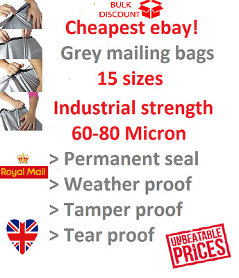 mailing bags grey INDUSTRIAL STRENGTH self seal 60-80mu tamper proof 15 sizes!