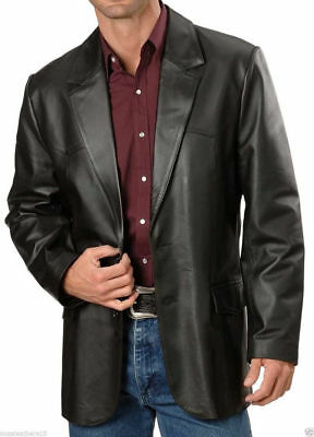 Brand New Men's Genuine soft Lambskin Leather Blazer Jacket TWO BUTTON Coat NF02