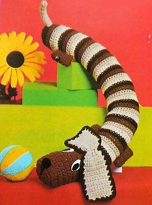 """CROCHET PATTERN How To Make a DACHSHUND SAUSAGE DOG Draught Excluder TOY 36"""" DK"""