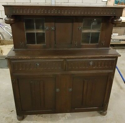 ANTIQUE wooden Sideboard by CWS Pelaw with glass cabinets 1500