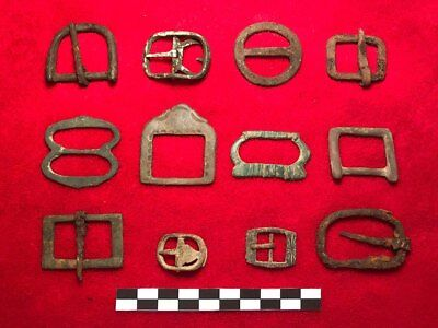 (100 BC): GERMANY- 12 x ROMAN IRON AGE BUCKLES - RESELL LOT !!!