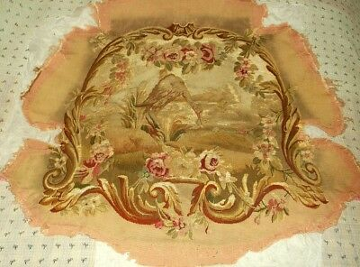 Antique 18th C Aubusson Tapestry Chair Cover - with Crane
