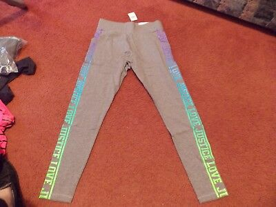 justice-- girls size 18-ombre logo stripe leggings--nwt