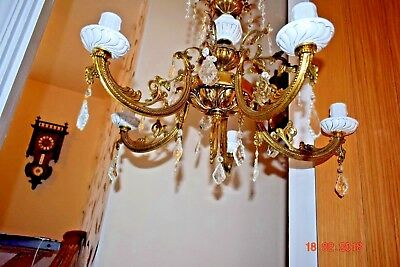 Antique French Gilded Brass Massive Chandeliers With Faceted Crystal Diamonds