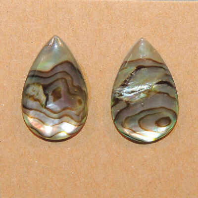 Abalone Cabochon 13x21mm with 3mm dome Set of 2 (13333)