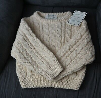 Kids 100% Wool Cable Cladyknit of Donegal Ireland Irish Sweater Boy Girl Small