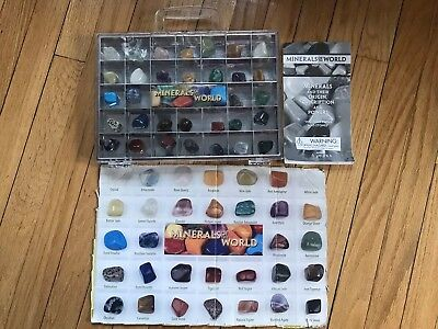 Minerals of the World 32 Minerals Rock Collection Book and Large Display Box