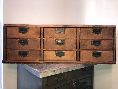 Antique Retro Display Cabinet 9 Drawer Industrial Wood Storage Globe Ideal File