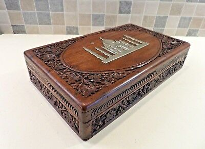 EARLY 20thC ANGLO INDIAN HAND CARVED WALNUT BOX WITH SOLID BRASS TAJ MAHAL DECOR