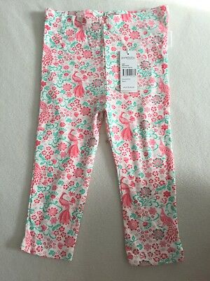 Purebaby Girl's Pink & Green Floral Peacock 3/4 Leggings Pants Size 3 (NwT)