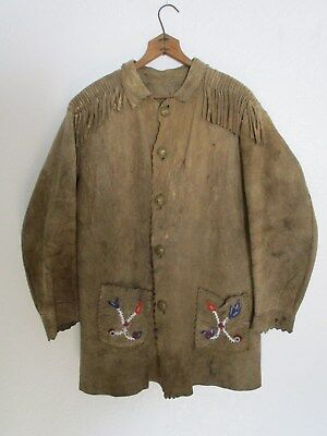 Plains Cree Beaded Buffalo Hide Shirt CA: 1870s