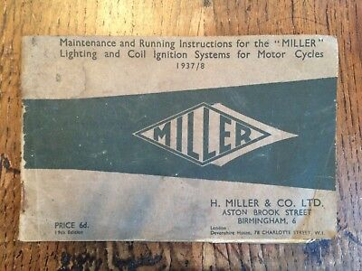 Maintenance and running instructions for Miller lighting and coil ignition syste