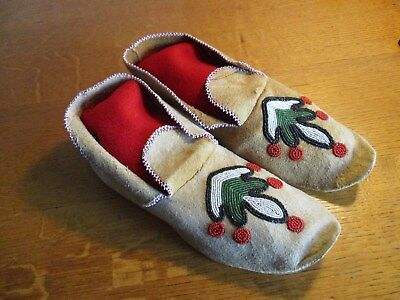 Antique Santee Sioux Beaded Moccasins