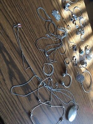 Sterling 925 Mixed Lot Of Wearable And Scrap Jewlery-4 Ounces