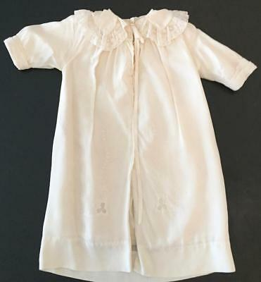 Vintage Embroidered Baby Christening Long White Gown Coat