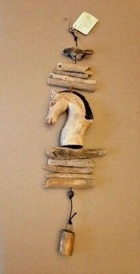 Horse Wood Sculpture Wood Horse Wall Hanging with Bell Garden Wall Hanging