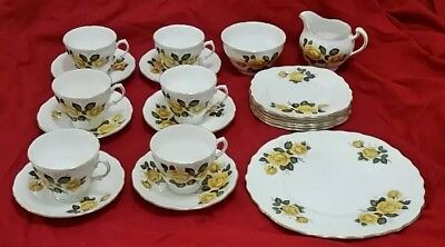 Royal Vale 21 Piece Bone China Tea Set - Yellow Roses  Pattern 9609 (Vintage)