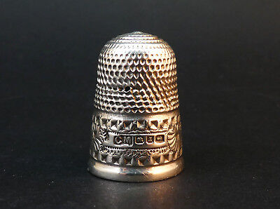 Charles May Antique Solid Sterling Silver Thimble, Hm Birmingham 1899, Size 6