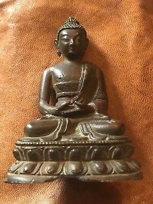 Fine Chinese Tibetan Bronze Buddha Amitayus Seated On Lotus Base 19Th Century