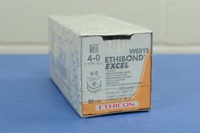 ETHICON W6915 Ethibond Excel Polyester Braided Suture 4-0, 90cm, Pack of 12