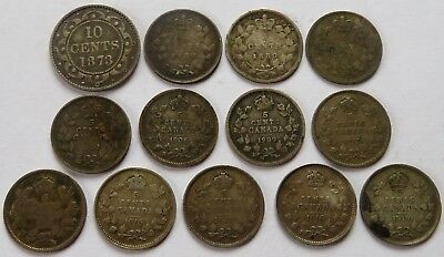 Newfoundland 1873 10 Cents + 12 Canada 5 Cents 1880-H, 1900/02-H/06/09+ (181017Z