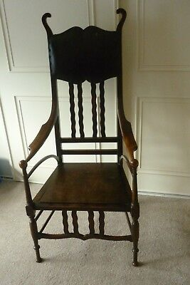 Antique Arts & Crafts Unusual Oak Chair With Arms, Good Vintage Condition