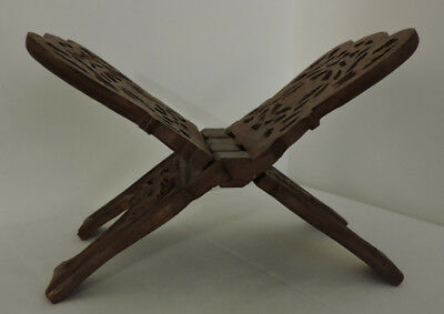 Folding Wooden Book Stand with Detailed Scroll Work in Excellent Condition