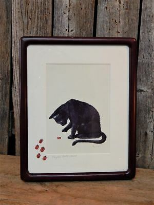 Black Cat with Lady Bugs Folk Art Original Kerr Painting Signed Framed