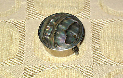 Vintage MOTHER of PEARL ABALONE & Silver Pillbox MEXICO Gorgeous